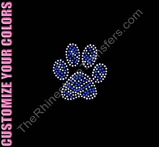Paw Print - 3 Inches - Zebra Print - CUSTOMIZE YOUR COLORS - Rhinestone Transfer