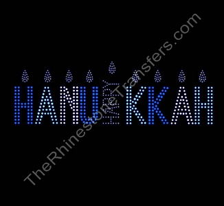 HAPPY HANUKKAH - with Candles - Rhinestone Transfer