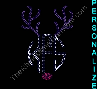 Circle Monogram With Rudolph Nose and Reindeer Antlers - Personalized - Rhinestone Transfer