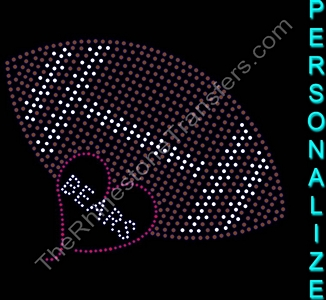 Team Name Inside Heart With Filled Football - Personalized - Rhinestone Transfer