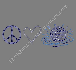 Peace Love Waterpolo - Rhinestone Transfer