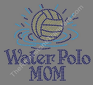 Water Polo Mom - with Ball and Water - Jet Black Accent - Rhinestone Transfer