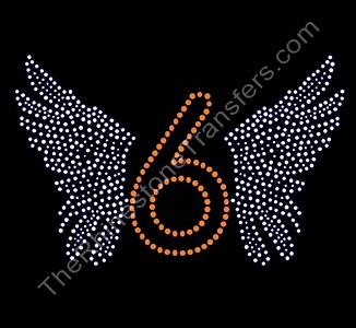 Number With Wings - Personalized - Rhinestone Design File Download