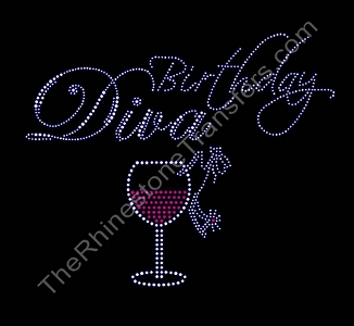 Birthday Diva - With Wine Glass and Shoe - Rhinestone Transfer