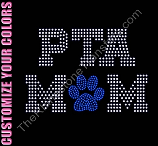 PTA MOM - Varsity Font - with Paw Print - CUSTOMIZE YOUR COLORS - Rhinestone Transfer