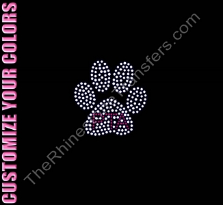 PTA Inside Paw Print - CUSTOMIZE YOUR COLORS - Rhinestone Transfer