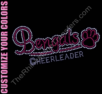 Bengals CHEERLEADER - with Paw Print - CUSTOMIZE YOUR COLORS - Rhinestone Transfer
