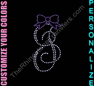 Single Letter Monogram With Bow - Personalized - CUSTOMIZE YOUR COLORS - Rhinestone Transfer