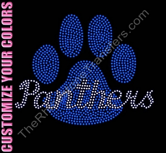 Panthers thru Paw Print - Filled - CUSTOMIZE YOUR COLORS - Rhinestone Transfer