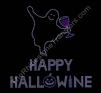 Happy Hallowine - Red Wine - Rhinestone Transfer