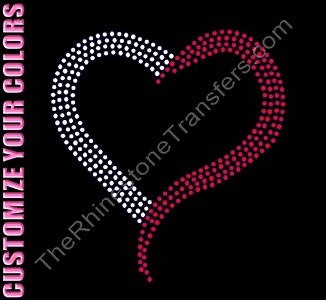 Heart - 7.0 Inches - CUSTOMIZE YOUR COLORS - Rhinestone Transfer