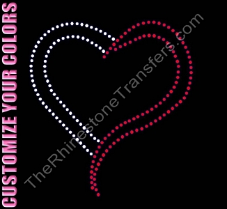 Heart - Outline - 7.0 Inches - CUSTOMIZE YOUR COLORS - Rhinestone Transfer