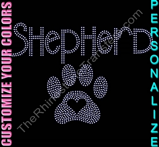 Custom Name with Paw Print Heart - Personalized - CUSTOMIZE YOUR COLORS - Rhinestone Transfer