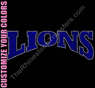LIONS - 10 Inches - CUSTOMIZE YOUR COLORS - Rhinestone Transfer
