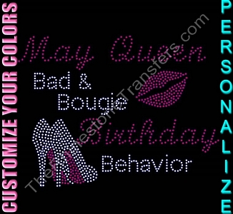 Birthday Month - Bad & Bougie Birthday Behavior - Personalized - CUSTOMIZE YOUR COLORS - Rhinestone Transfer