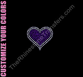 Heart - Two Colors - 2.8 Inches - CUSTOMIZE YOUR COLORS - Rhinestone Transfer