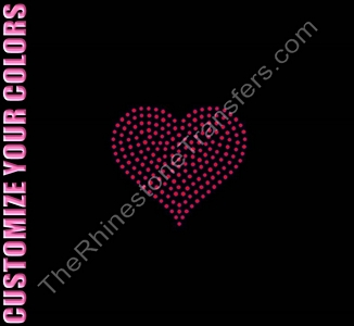 Heart - 3.4 Inches - CUSTOMIZE YOUR COLORS - Rhinestone Transfer