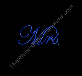 Mrs. - Fancy Script - 2 Inches - Capri Blue - Rhinestone Transfer