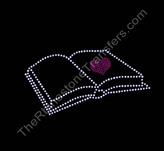 Book - With Heart - Rhinestone Transfer
