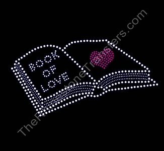 Book Of Love - With Heart - 9.8 Inches - Rhinestone Transfer