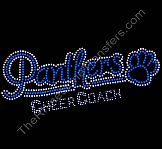 Panthers CHEER COACH - with Paw Print - Blue - Rhinestone Transfer