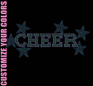 Cheer - With Stars - CUSTOMIZE YOUR COLORS - Rhinestone Transfer