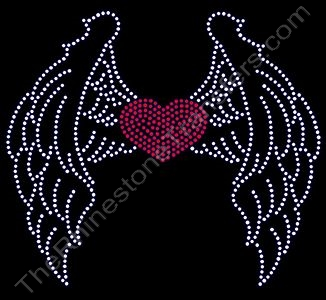 Filled Heart with Closed Wings - CUSTOMIZE YOUR COLORS - Rhinestone Design File Download