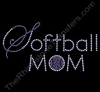 Softball MOM with Ball - Script and Block Letters - Rhinestone Design File Download