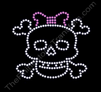 Skull and Crossbones - with Pink Bow - Rhinestone Design File Download