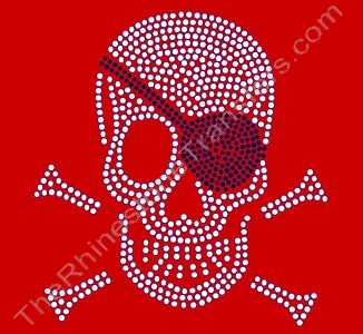 Skull and Crossbones - LARGE - with Patch - Rhinestone Design File Download
