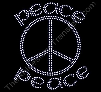 Peace - Peace Sign - Peace - Rhinestone Transfer