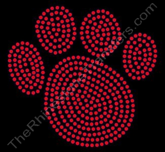 Paw Print - 6 Inches - Red - Rhinestone Transfer