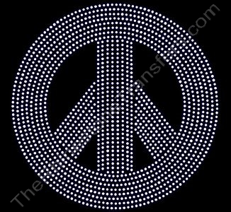Peace Sign - 7.9 Inches - Rhinestone Design File Download
