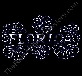 Florida - Floral - Clear - Rhinestone Design File Download