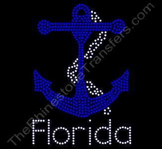 Florida with Anchor - Rhinestone Transfer