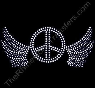 Winged Small Peace Sign - Rhinestone Design File Download