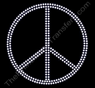 Peace Sign - 4.8 Inches - Rhinestone Design File Download