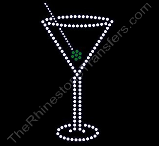 Martini with Green Olive - Rhinestone Transfer