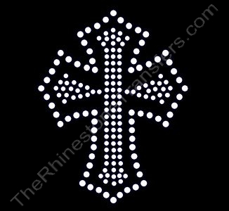 Small Outlined Cross - Rhinestone Transfer