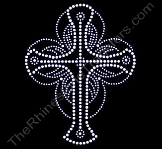 Cross with Circular Frame - Rhinestone Transfer