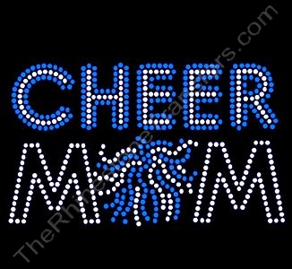 CHEER MOM - with Pom - Clear with Blue Highlights - Rhinestone Design File Download