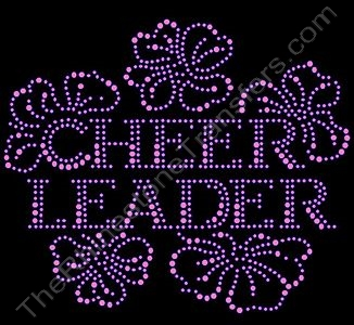 CHEER LEADER - Floral - Pink - Rhinestone Design File Download