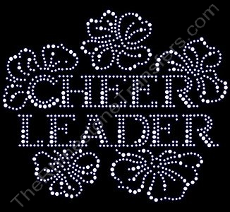 CHEER LEADER - Floral - Clear - Rhinestone Design File Download