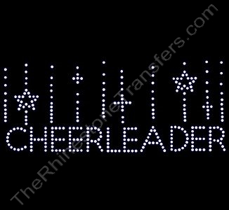 CHEERLEADER with Falling Stars - Rhinestone Design File Download
